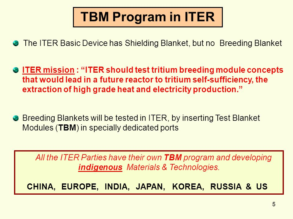 TBM Program in ITER The ITER Basic Device has Shielding Blanket, but no Breeding Blanket.