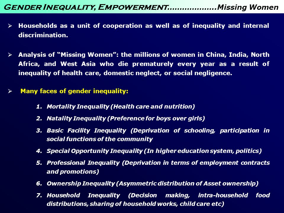 Gender Inequality, Empowerment………………..Missing Women