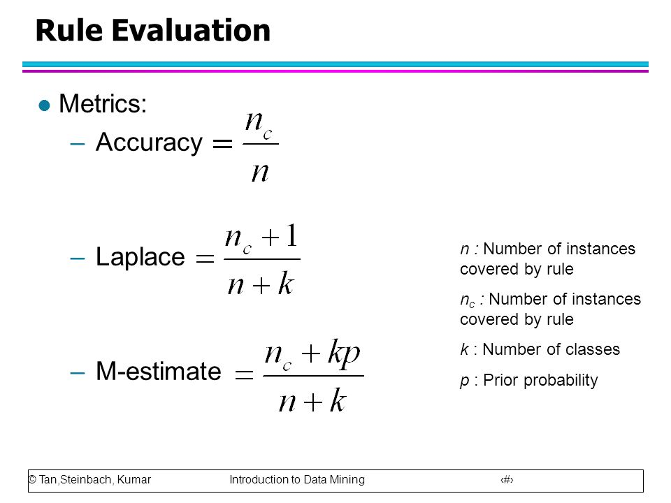 Rule Evaluation Metrics: Accuracy Laplace M-estimate