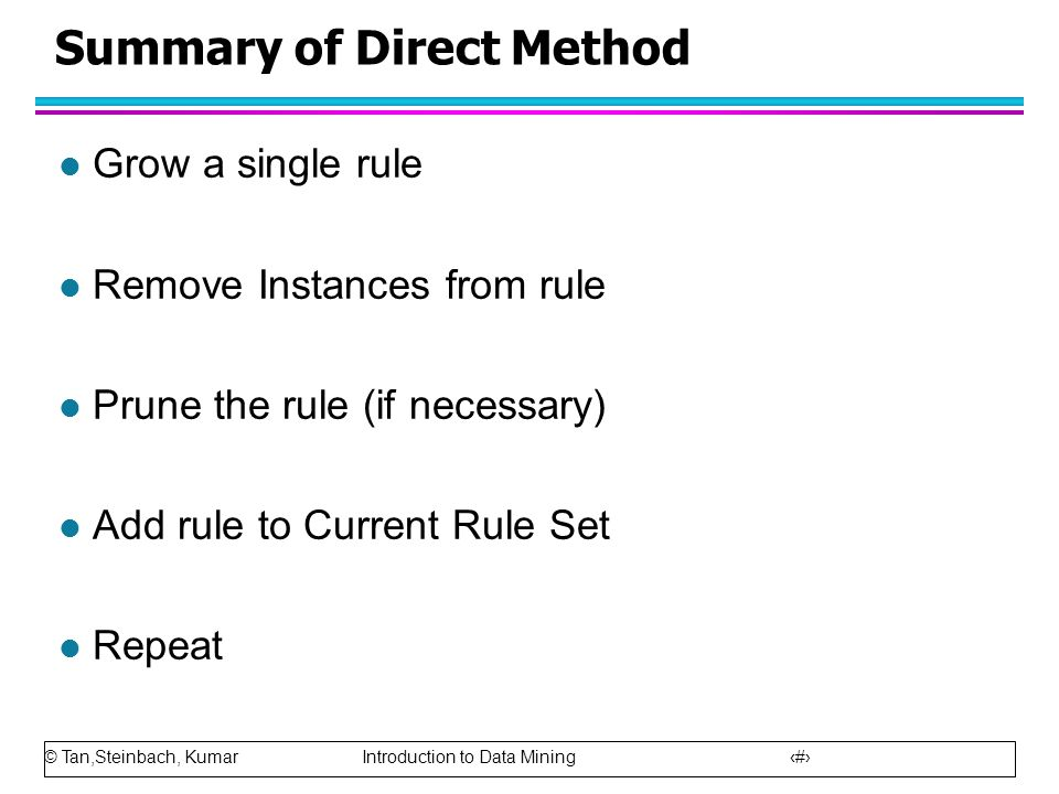 Summary of Direct Method