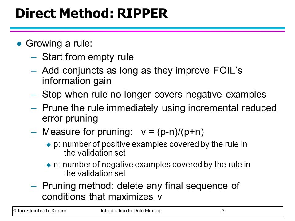 Direct Method: RIPPER Growing a rule: Start from empty rule