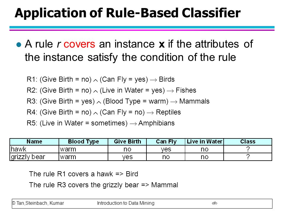 Application of Rule-Based Classifier