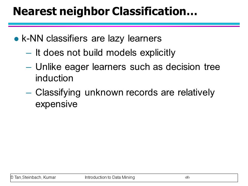 Nearest neighbor Classification…