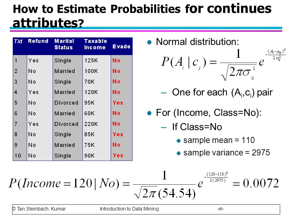 How to Estimate Probabilities for continues attributes