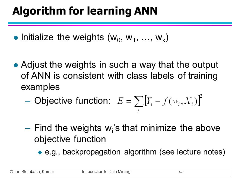Algorithm for learning ANN