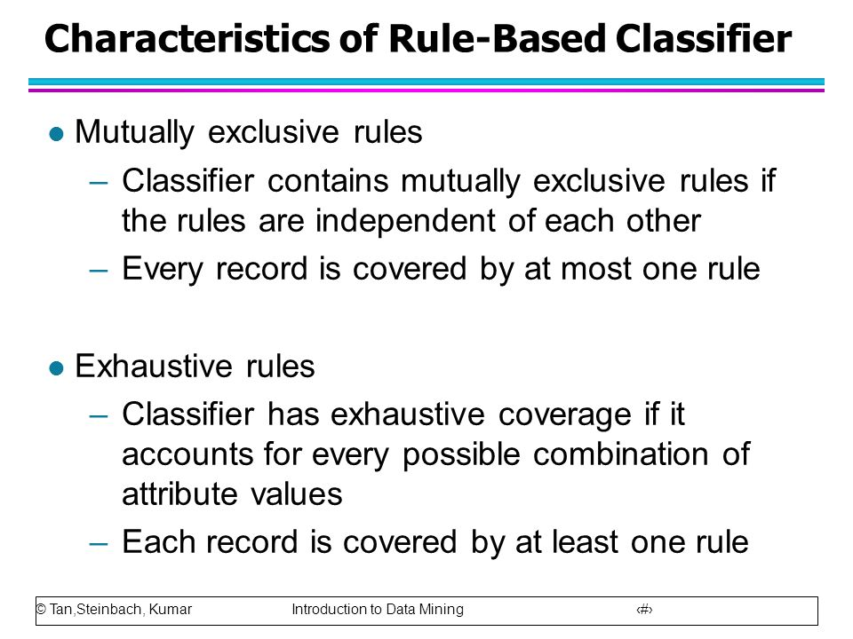 Characteristics of Rule-Based Classifier