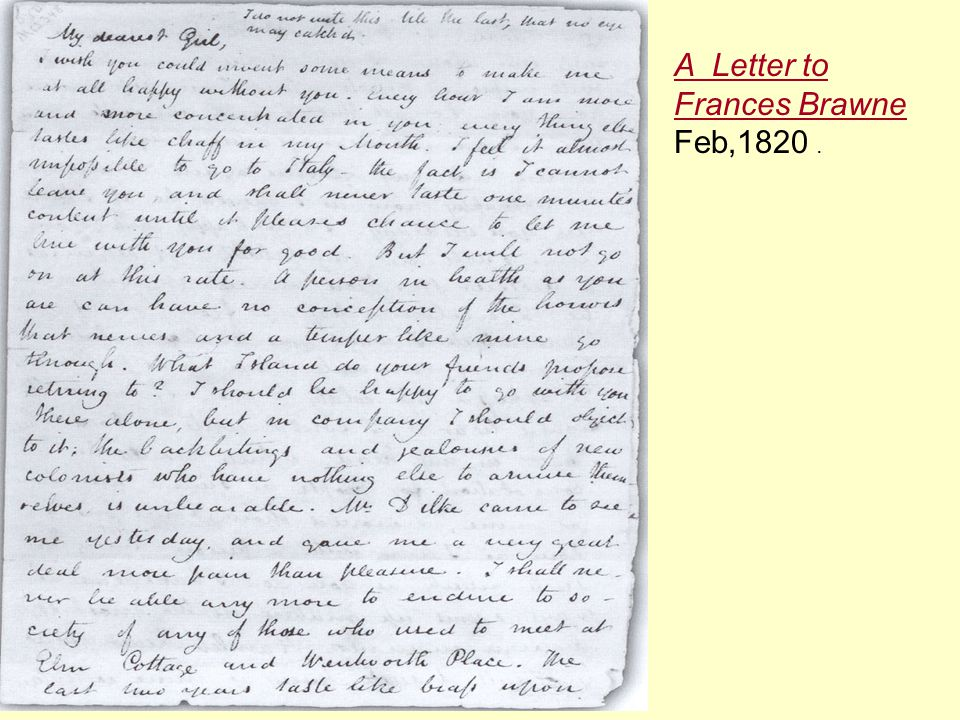 A Letter to Frances Brawne Feb,1820 .