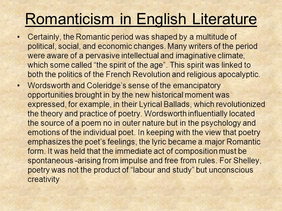Romanticism in English Literature