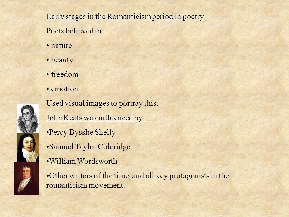 Early stages in the Romanticism period in poetry