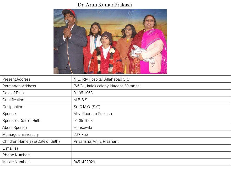 Dr. Arun Kumar Prakash Present Address