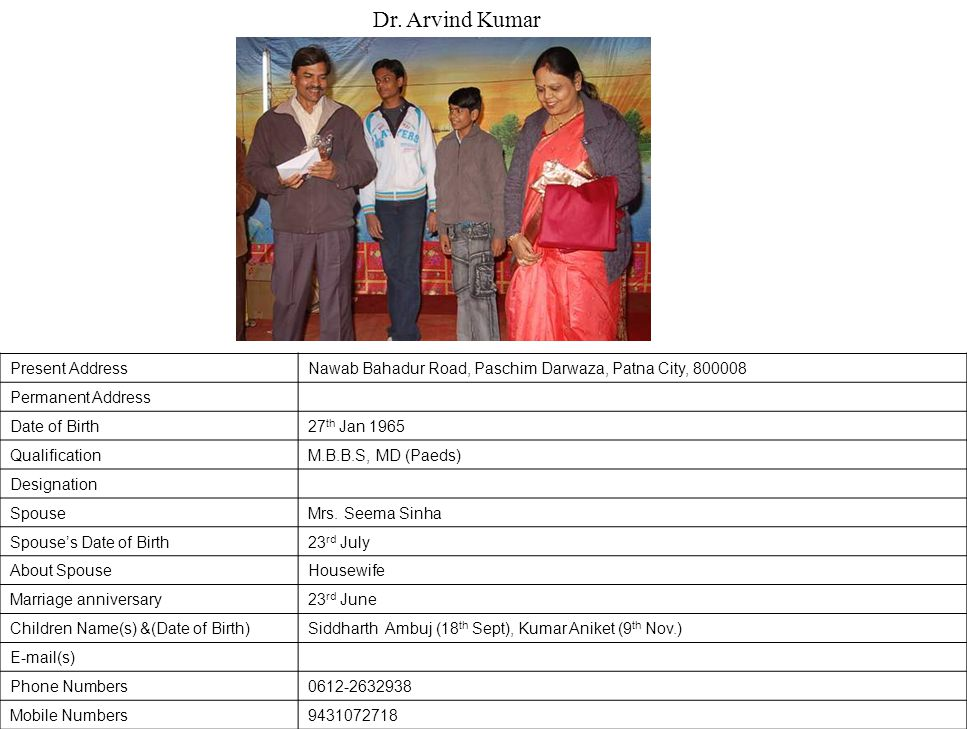 Dr. Arvind Kumar Present Address