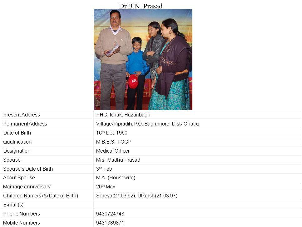 Dr B.N. Prasad Present Address PHC, Ichak, Hazaribagh