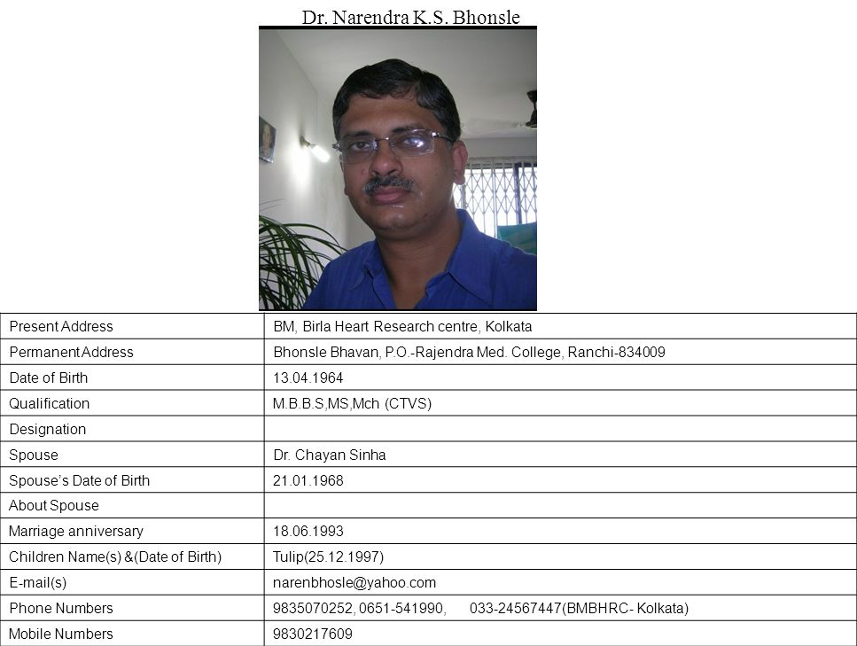 Dr. Narendra K.S. Bhonsle Present Address