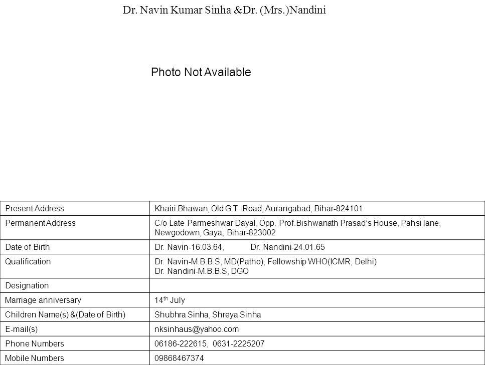 Dr. Navin Kumar Sinha &Dr. (Mrs.)Nandini