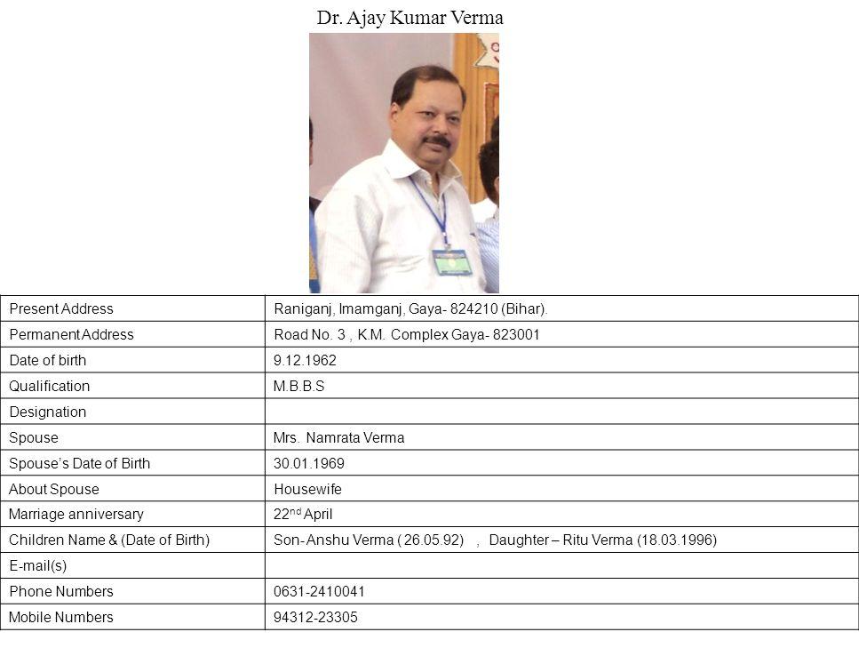 Dr. Ajay Kumar Verma Present Address