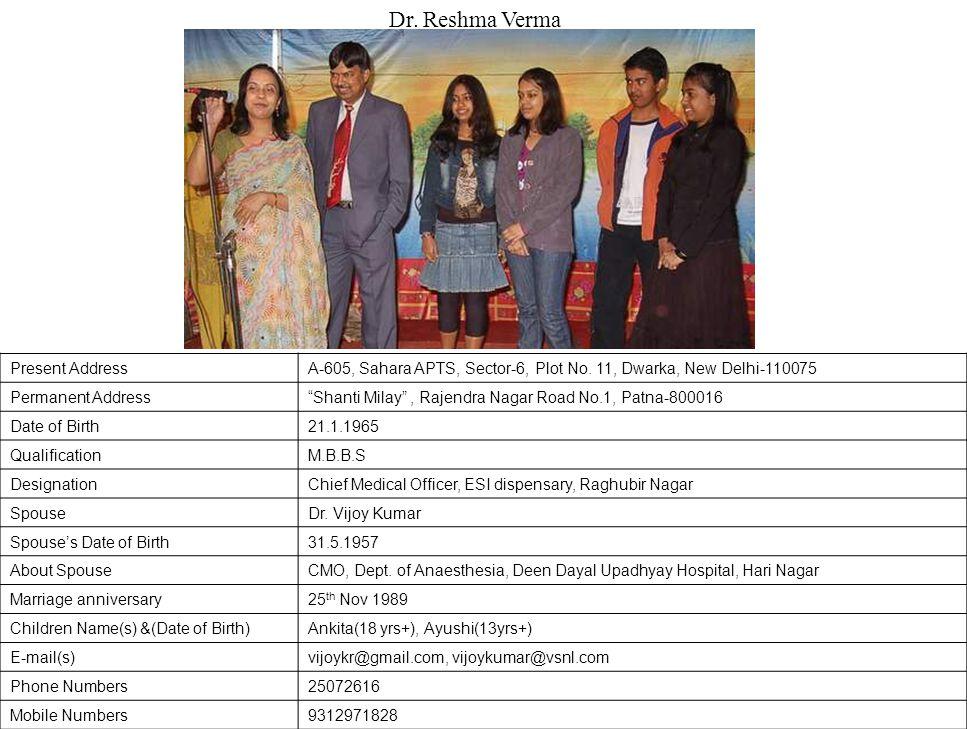 Dr. Reshma Verma Present Address