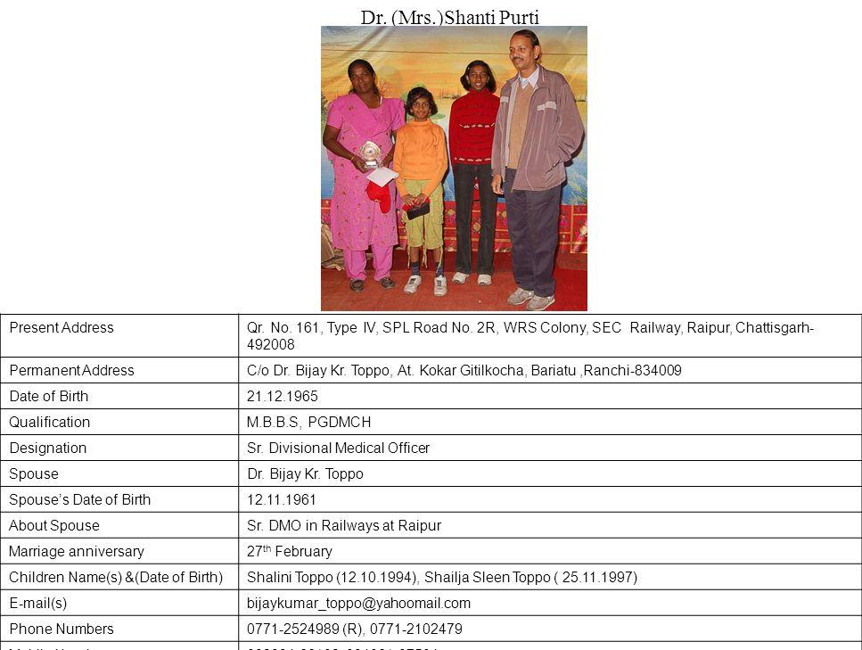 Dr. (Mrs.)Shanti Purti Present Address