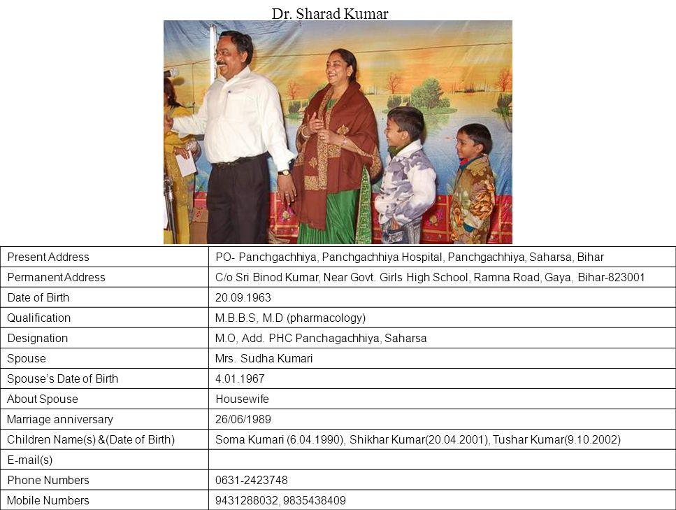 Dr. Sharad Kumar Present Address