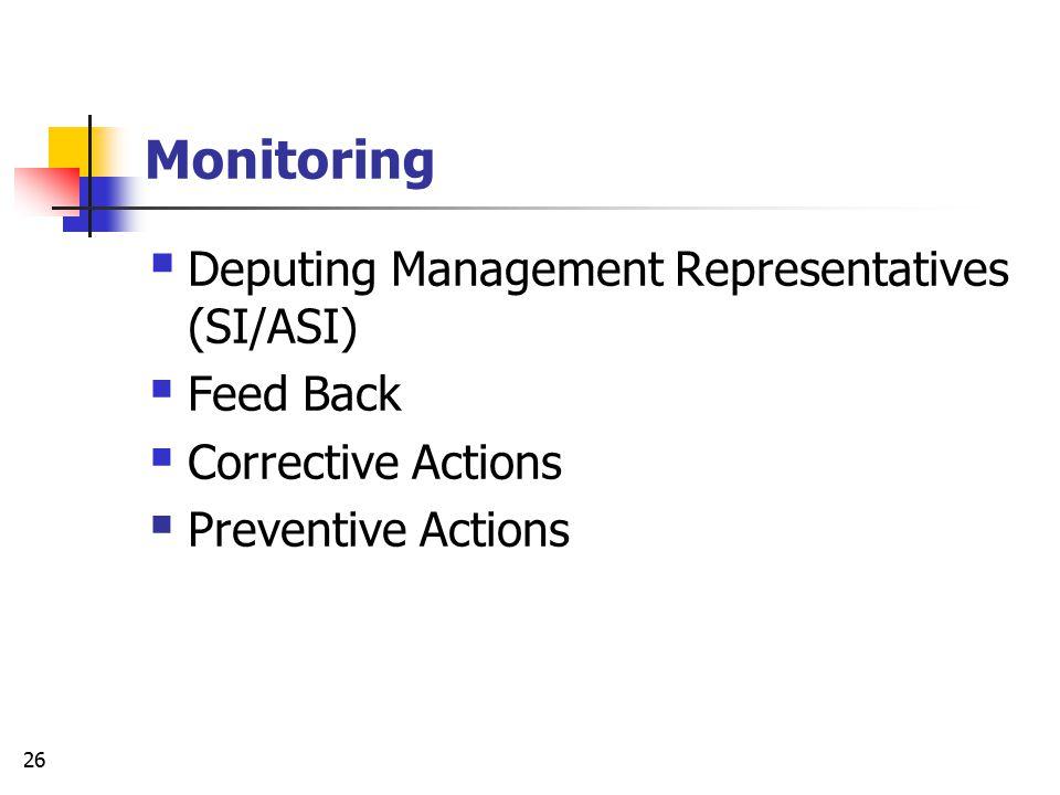 Monitoring Deputing Management Representatives (SI/ASI) Feed Back