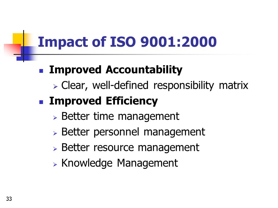 Impact of ISO 9001:2000 Improved Accountability