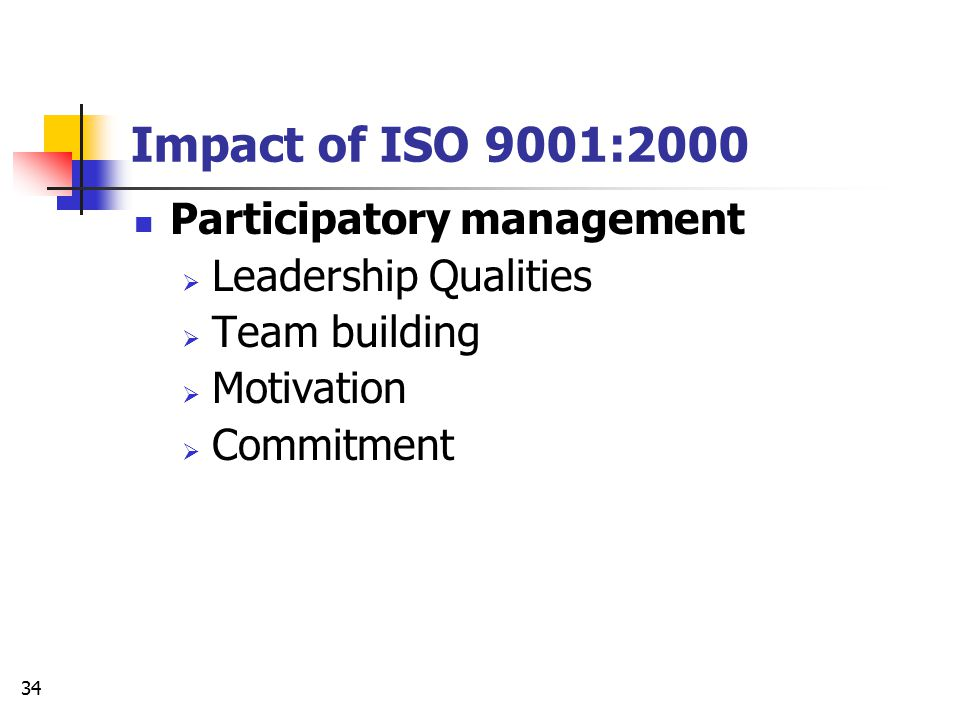 Impact of ISO 9001:2000 Participatory management Leadership Qualities