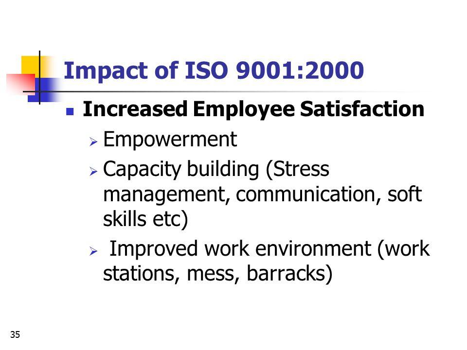 Impact of ISO 9001:2000 Increased Employee Satisfaction Empowerment