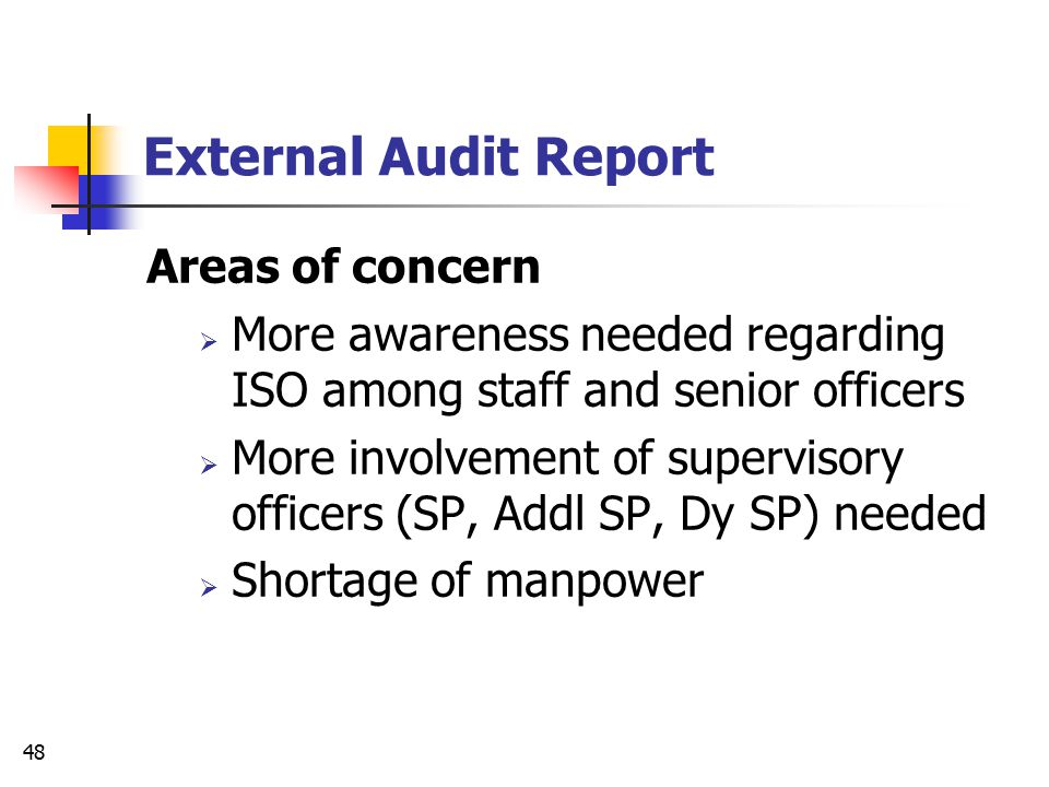 External Audit Report Areas of concern
