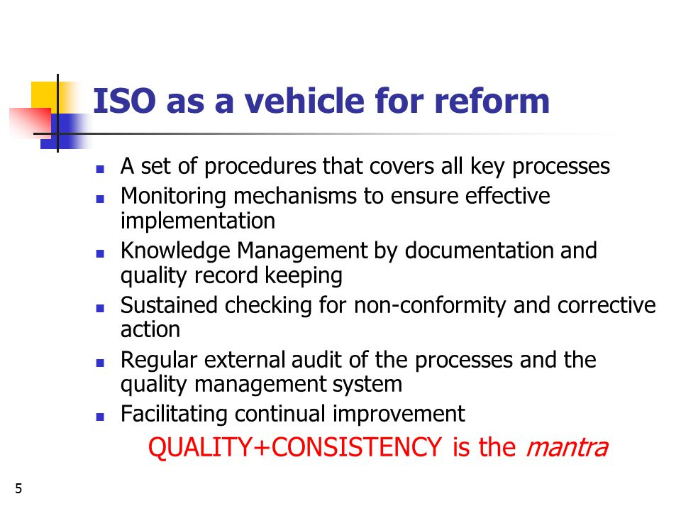 ISO as a vehicle for reform