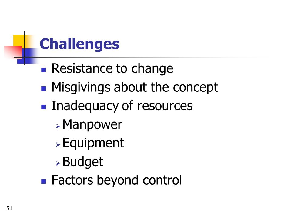 Challenges Resistance to change Misgivings about the concept