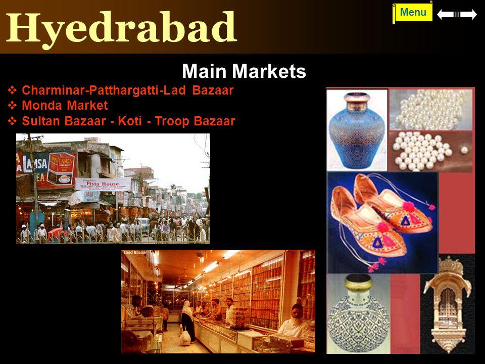 Hyedrabad Main Markets Charminar-Patthargatti-Lad Bazaar Monda Market