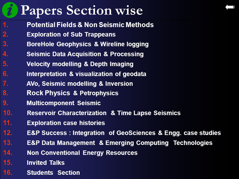 Papers Section wise 1. Potential Fields & Non Seismic Methods