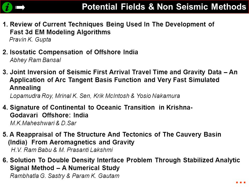 … Potential Fields & Non Seismic Methods