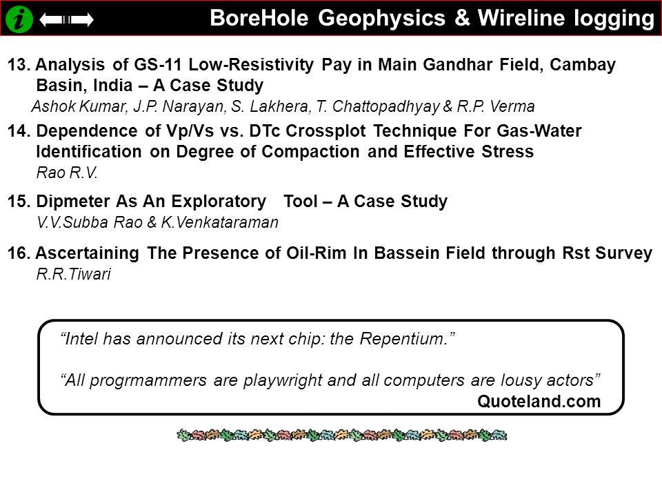 BoreHole Geophysics & Wireline logging