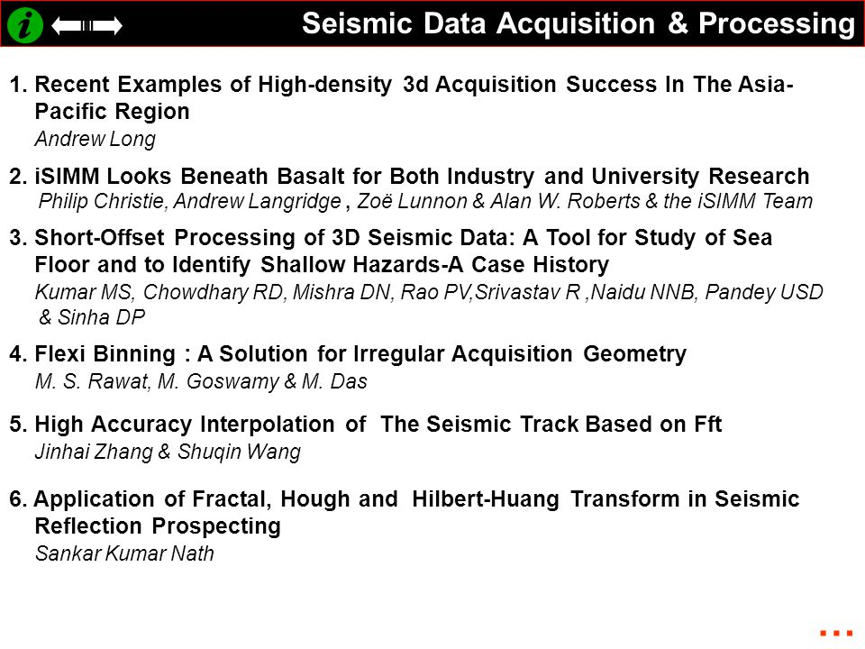 … Seismic Data Acquisition & Processing