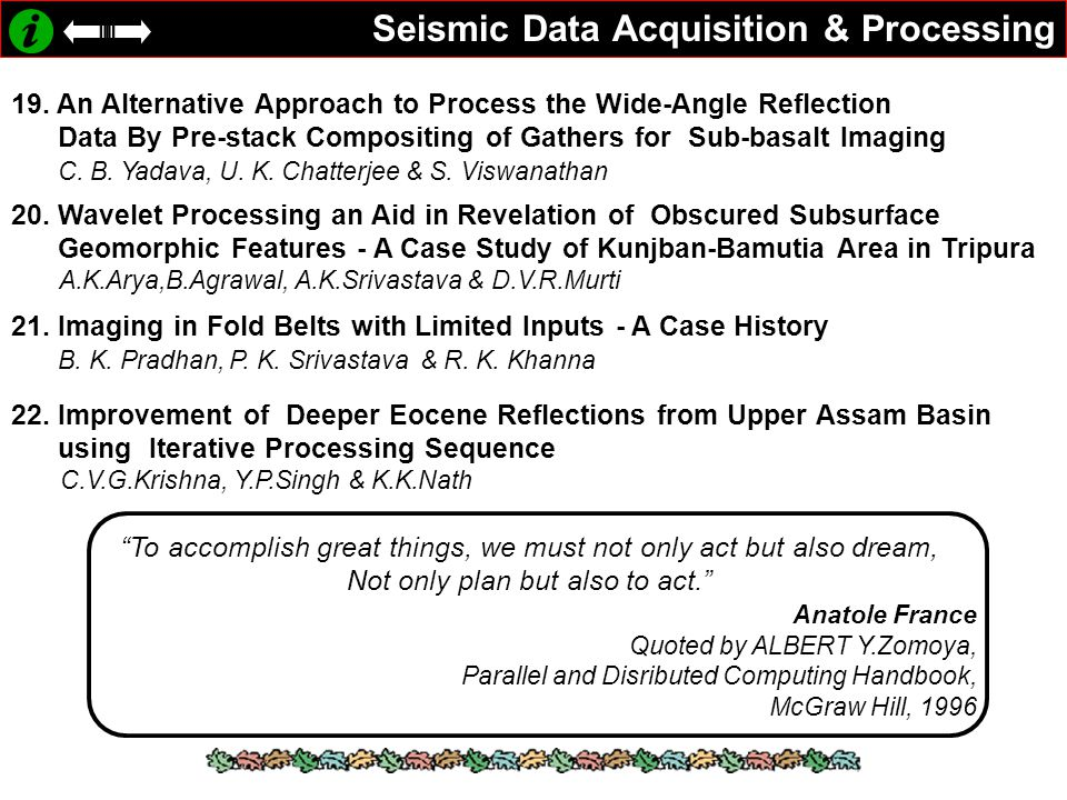 Seismic Data Acquisition & Processing