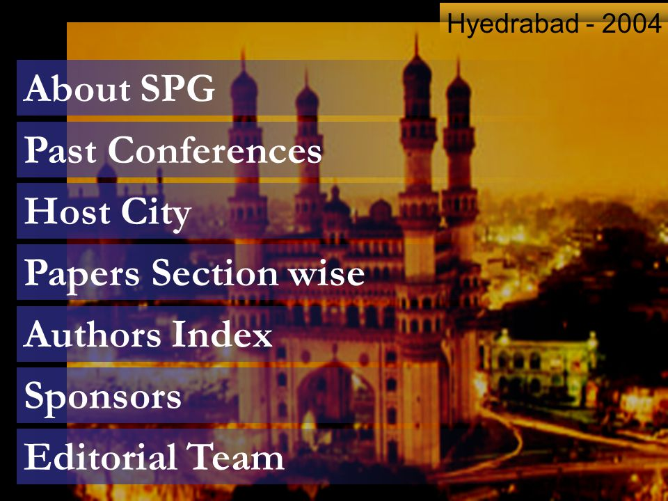 About SPG Past Conferences Host City Papers Section wise Authors Index