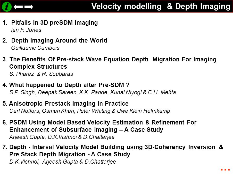 … Velocity modelling & Depth Imaging Pitfalls in 3D preSDM Imaging