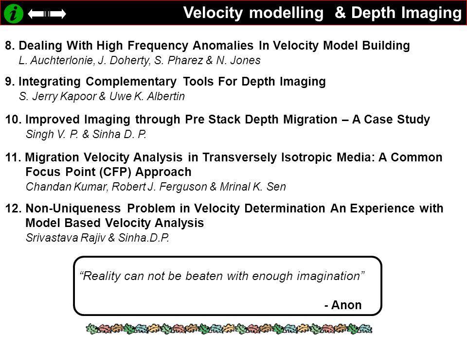 Velocity modelling & Depth Imaging