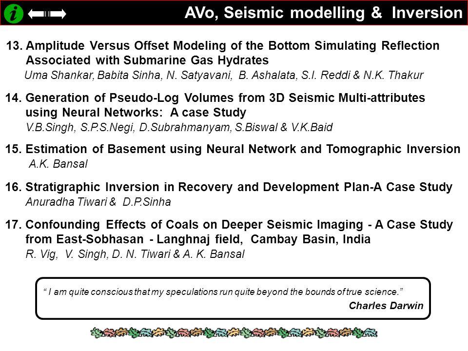 AVo, Seismic modelling & Inversion
