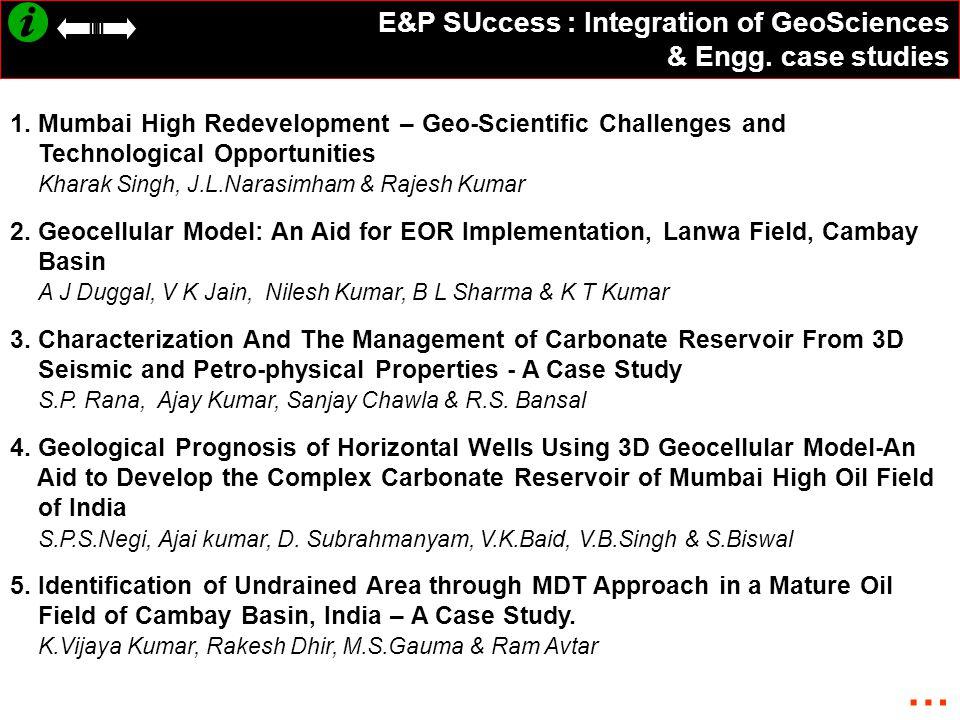 … E&P SUccess : Integration of GeoSciences & Engg. case studies