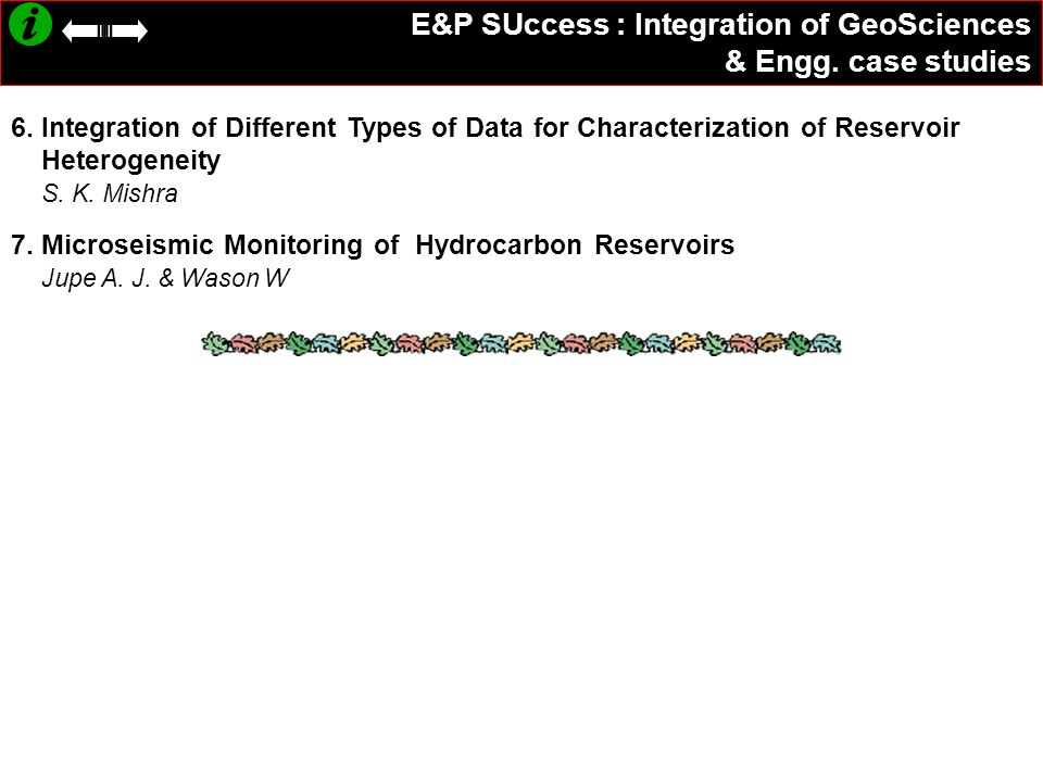 E&P SUccess : Integration of GeoSciences & Engg. case studies