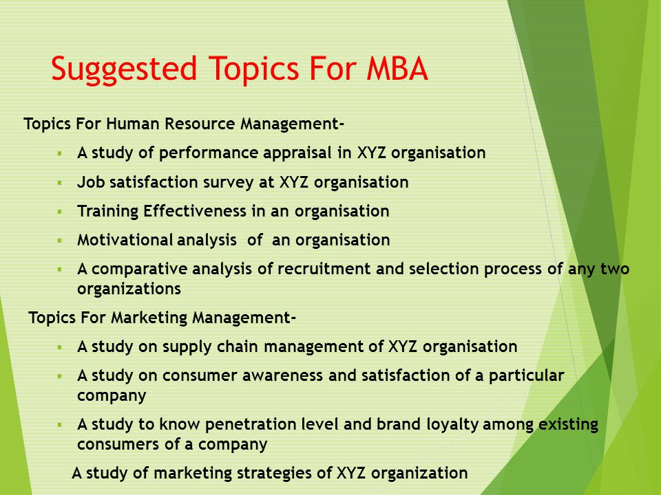Suggested Topics For MBA