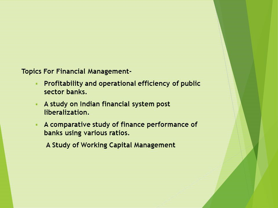 Topics For Financial Management-