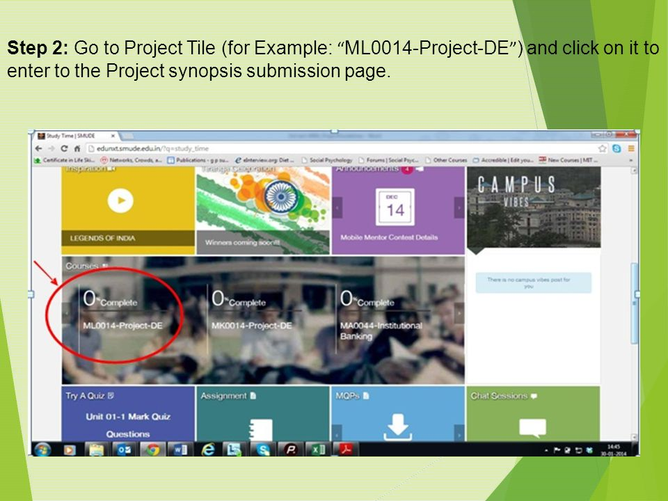 Step 2: Go to Project Tile (for Example: ML0014-Project-DE ) and click on it to enter to the Project synopsis submission page.