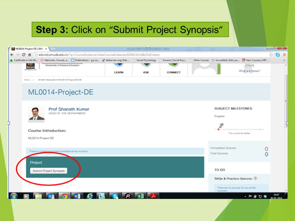 Step 3: Click on Submit Project Synopsis