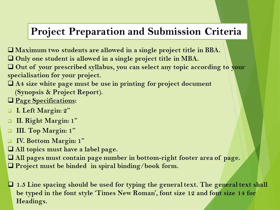 Project Preparation and Submission Criteria