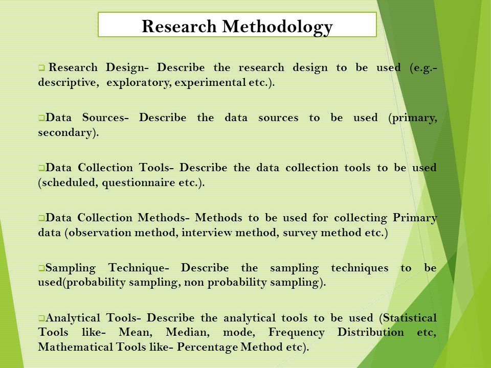 Research Methodology Research Design- Describe the research design to be used (e.g.-descriptive, exploratory, experimental etc.).