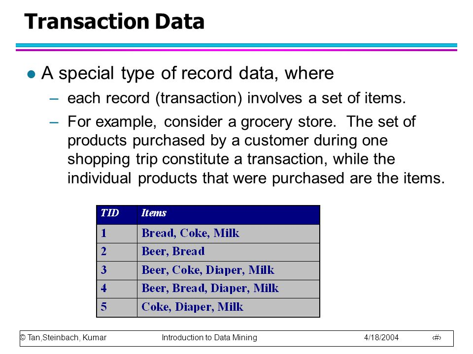 Transaction Data A special type of record data, where