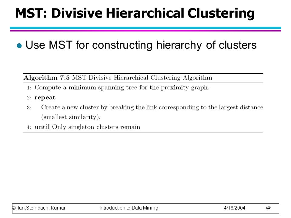 MST: Divisive Hierarchical Clustering