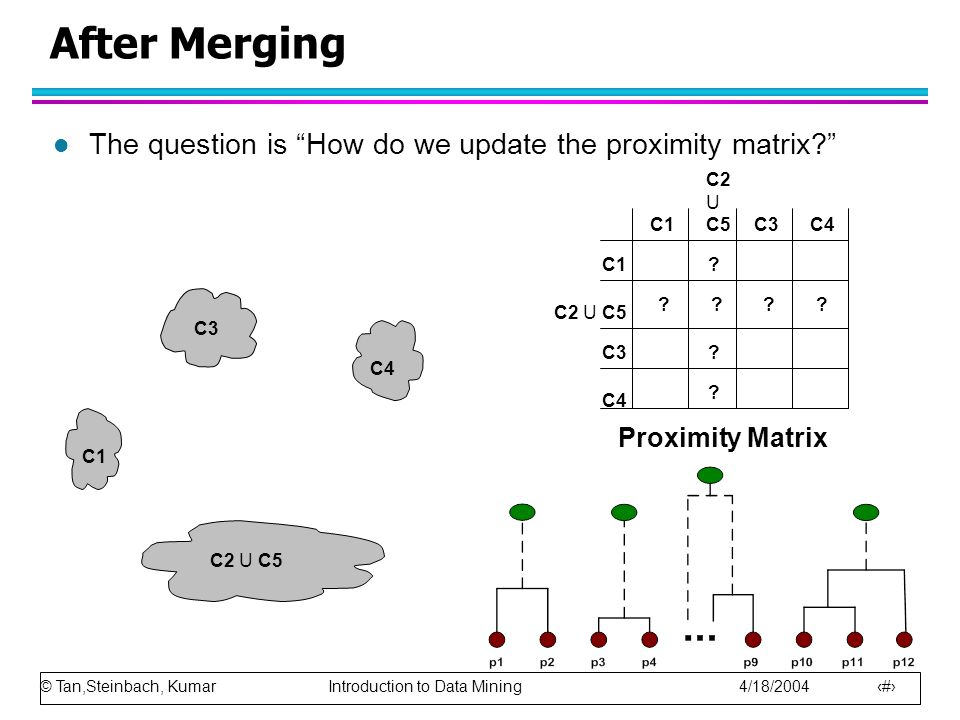 After Merging The question is How do we update the proximity matrix